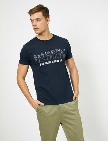 Koton Yazili Baskili T-Shirt Lacivert